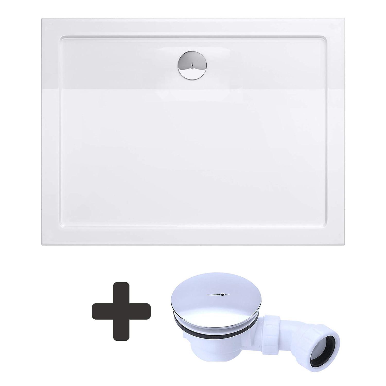 Sogood Duschtasse Duschwanne Lucia04 80x90x4 flach aus Acryl inkl. Ablaufgarnitur Weiß mit Anti-Rutsch Profil und DIN-Anschlüssen auch für bodenebene Montage geeignet