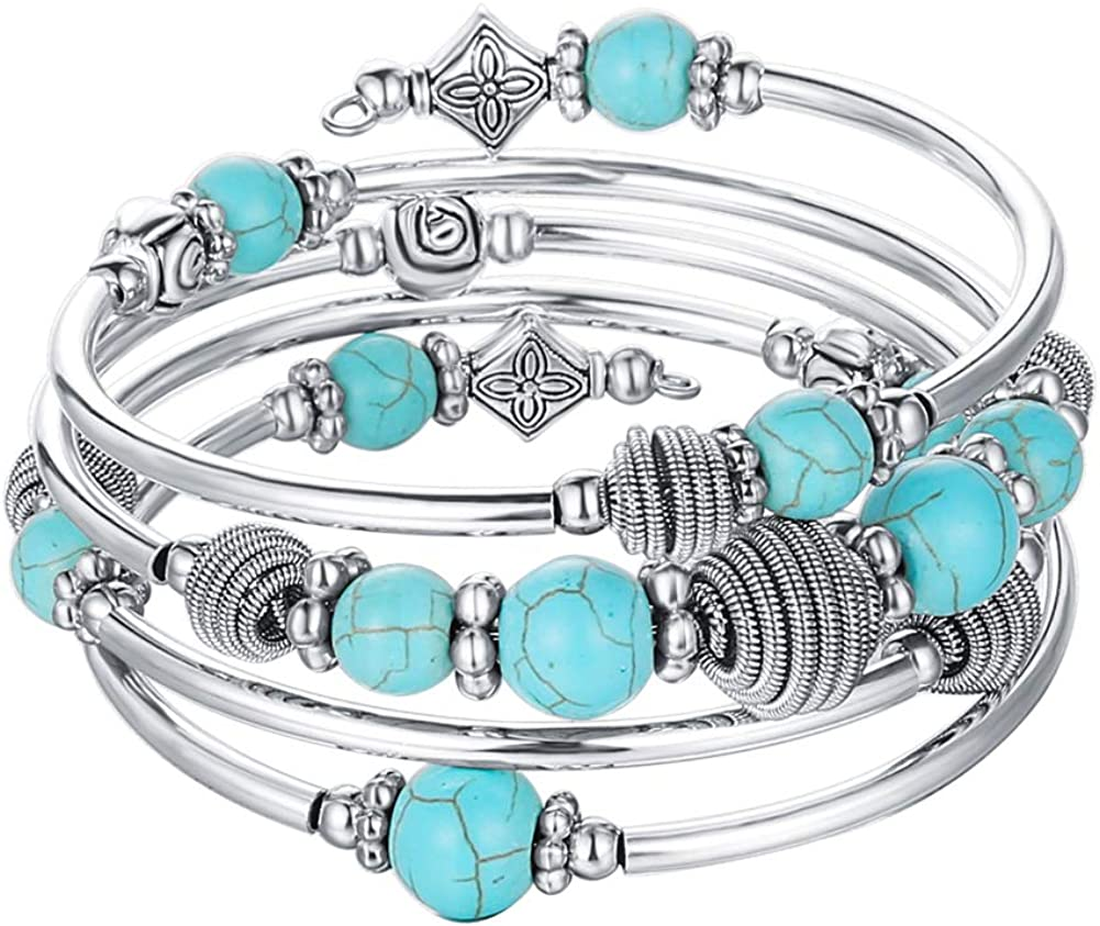 PEARL&CLUB Beaded Chakra Bangle Turquoise Bracelet - Fashion Jewelry Wrap Bracelet with Thick Silver Metal and Mala Beads, Birthday Gifts for Women (A:Turquoise): Jewelry