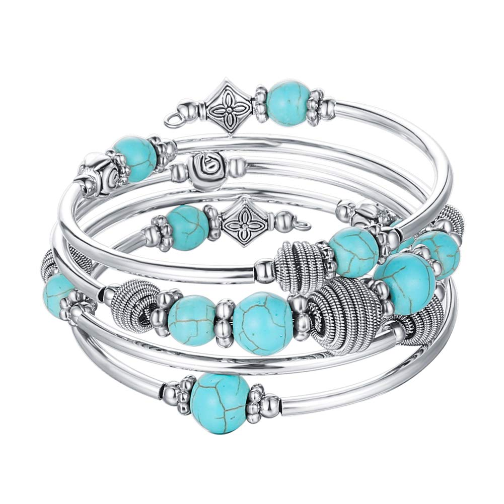 PEARL&CLUB Beaded Chakra Bangle Turquoise Bracelet - Fashion Jewelry Wrap Bracelet with Thick Silver Metal and Mala Beads Birthday Gifts for Women