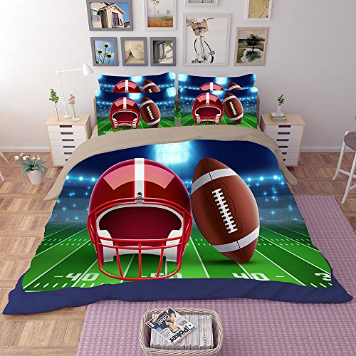 Fantastic American Football Microfiber 3pc 90''x90'' Bedding Quilt Duvet Cover Sets 2 Pillow Cases Queen Size by DIY Duvetcover