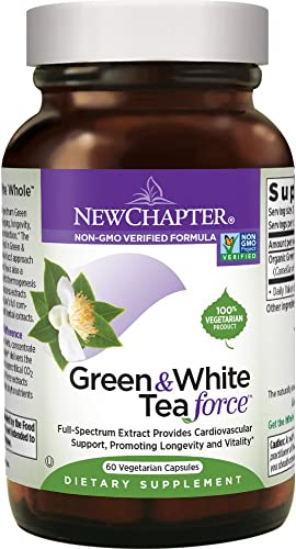 New Chapter Green Tea Supplement - Green and White Tea Force for Healthy Aging, Longevity Energy Non-GMO Ingredients - 60 ct Vegetarian Capsules