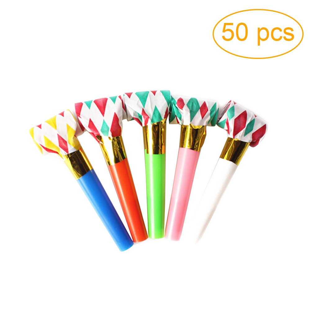 TOYMYTOY 50pcs Party Blowouts Whistles Toys Party Christmas Favors