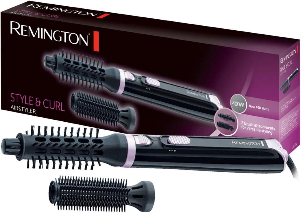 Remington Style & Curl AS404 Moldeador de Aire Caliente, 400 W, Cepillo Redondo y Cepillo de Cerdas, Negro y Rosa