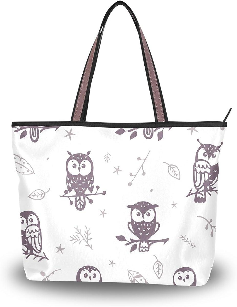 JSTEL Women Large Tote Top Handle Shoulder Bags Cute Owl Patern Ladies Handbag