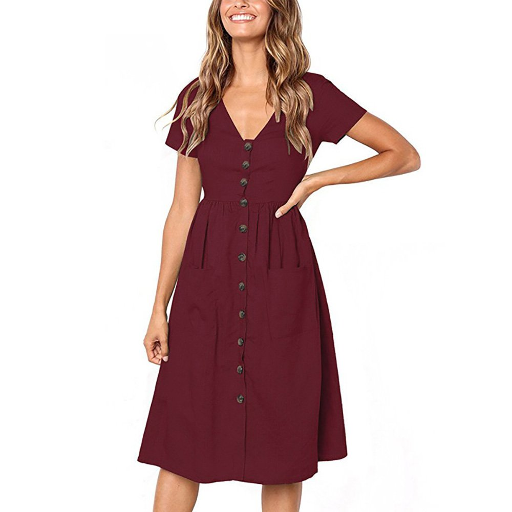 ZOLLOR Women's Upgrade Casual Openable Chest V Neck Short Sleeve Button Down Summer Beach Midi Dress with Pockets (L, Wine Red)