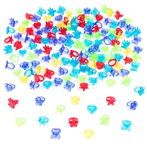 Colorful Assorted Plastic Glitter Toy Rings | Bag Of 144 Rings (Hearts, Bears, Stars, Hands & Flowers) | Use As Party Favors, Cake Toppers, In Goody Bags, Piñatas, Arts, Crafts - Outlets Drive International
