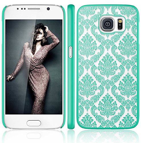 Galaxy S6 Case, ARSUE (TM) Ultra Thin Case, Damask Vintage Pattern Slim Hard Case For Samsung Galaxy S6 (Teal)