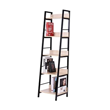 New Oak 5 Tier Ladder Shelf Bookcase Bookshelf Wooden Home Furniture Storage Organizer