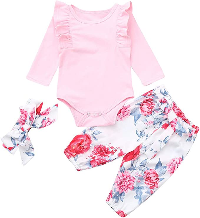 Newborn Infant Baby Girl Clothes Romper Jumpsuit Bodysuit Dot Pants Outfits with Headband 3Pcs Sets