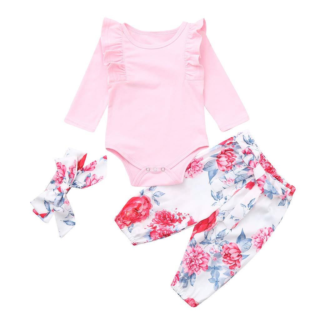 baskuwish New 3PCS Outfit Set Newborn Toddler Baby Girl Romper Bodysuit Jumpsuit Floral Halen Pants Infant Clothes Set