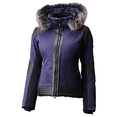 16777df3ba Amazon.com  Descente Cecily Insulated Ski Jacket with Real Fur Womens   Clothing