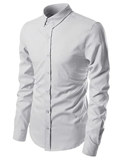 78355c80efa9 NEARKIN (NKNKN451) Long Sleeve Pin Point Solid Oxford Cotton Button Down Dress  Shirts LIGHTGRAY US XXL(Tag size 2XL) at Amazon Men's Clothing store: