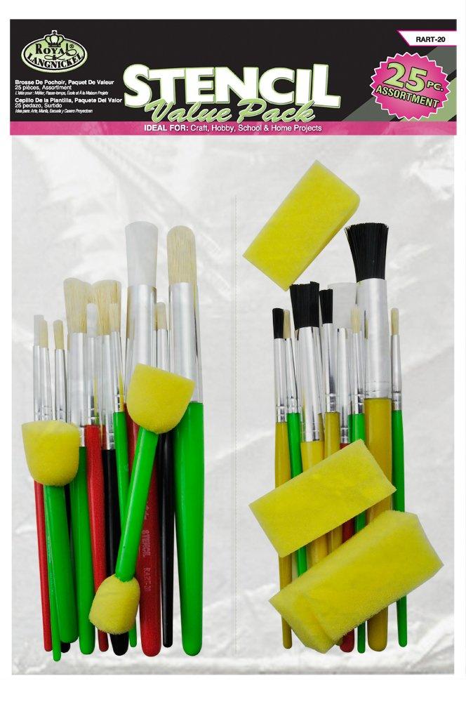 Royal Brush RART 20 Cool Art Stencil Brush (25 Per Pack), Multicolor
