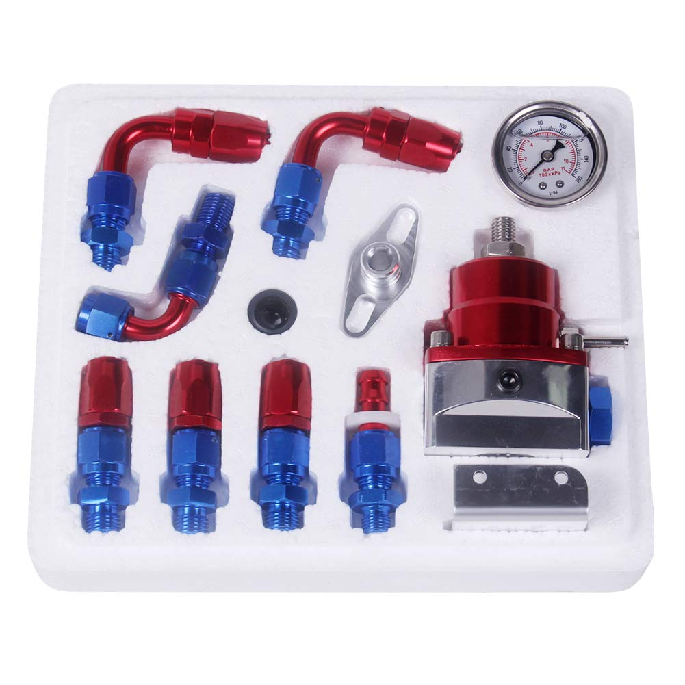 Ahomi Universal Adjustable Fuel Pressure Regulator Kit 100psi Gauge AN 6 Fitting