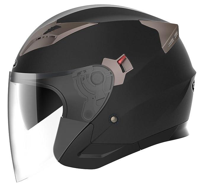 Amazon.es: YEMA Casco Moto Jet ECE Homologado YM-627 Casco Moto Abierto Custom Scooter para Mujer Hombre Adultos con Doble Visera-Negro Mate-XL