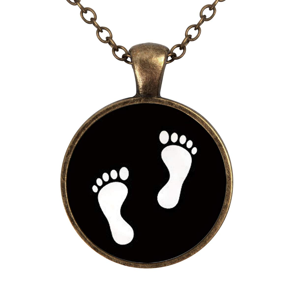Family Decor Lovely Footprints Print Pendant Necklace Cabochon Glass Vintage Bronze Chain Necklace Jewelry Handmade
