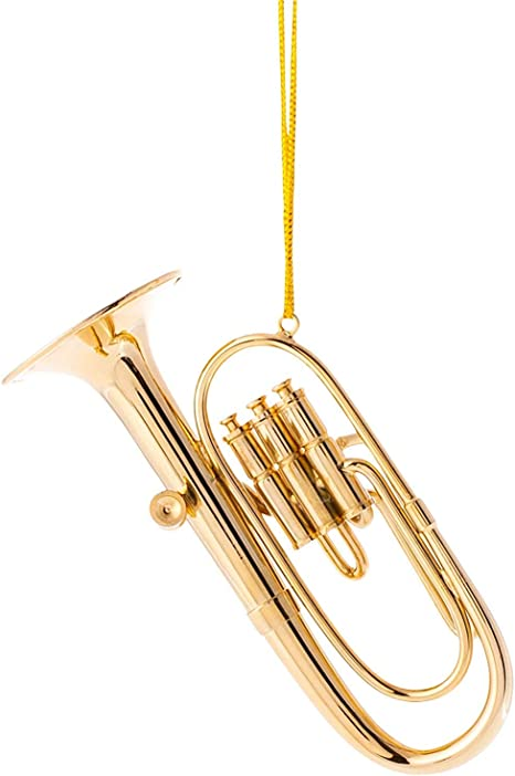 6 pc vintage gold tone metal musical instrument Christmas tree ornament set FREE SHIPPING