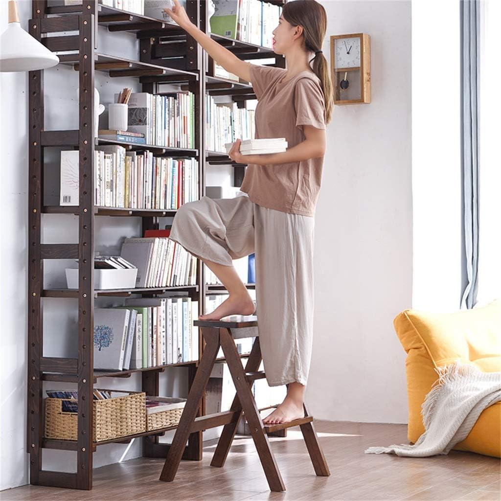 Charge 150 kg biblioth/èque de Maison Portable Noyer Clair /échelle de Grenier//Porte-Fleurs///étag/ère//Tabouret Escabeau Pliant en Bois avec escabeau sur 6 marches
