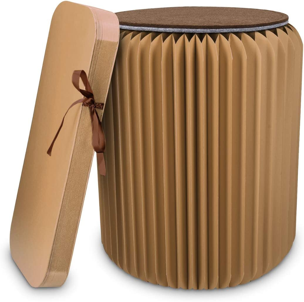 Navaris Folding Kraft Paper Stool – Foldable Chair Ottoman with Cushion – 16.5 x 14.2 inches, 660 lbs Weight Capacity – for Home, School, Dorm – Brown