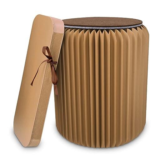 Navaris Taburete de cartón Plegable - Mesita Auxiliar portátil de 42x36CM - Silla de cartón Corrugado con cojín de Fieltro Reversible en marrón