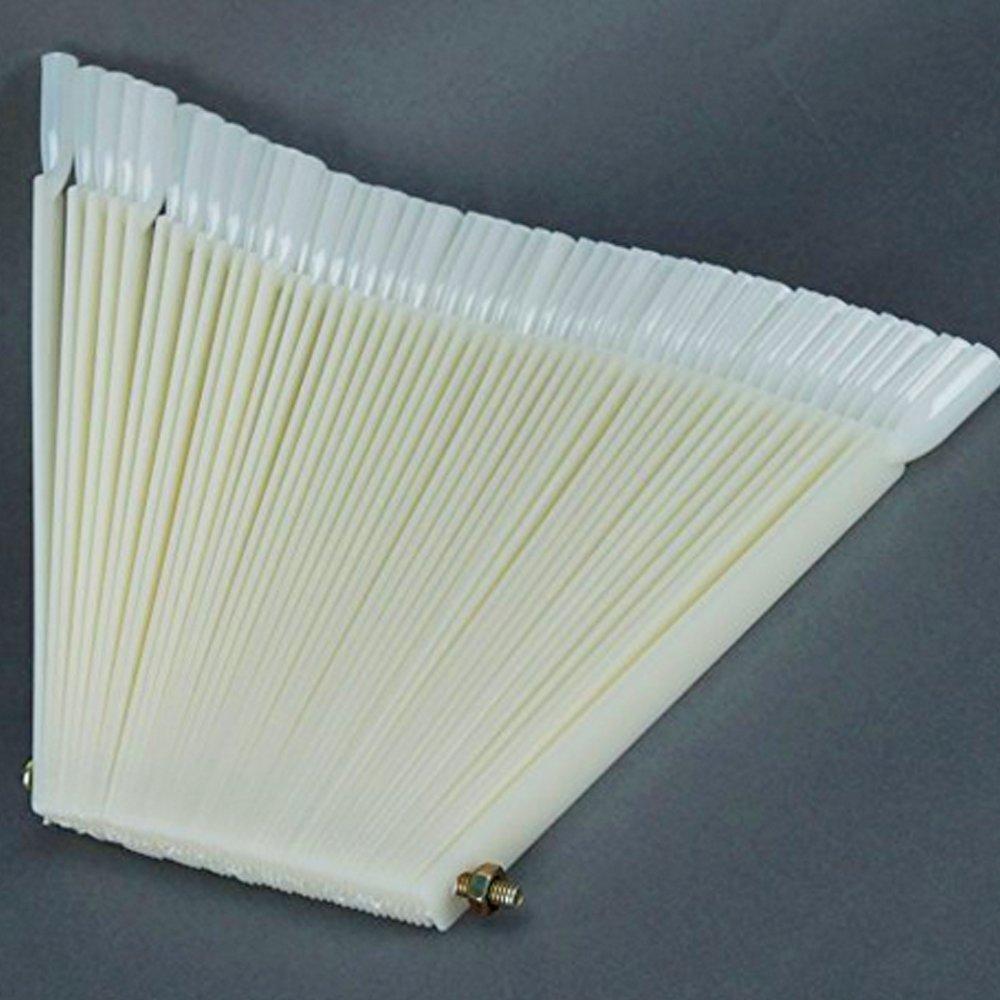 Nicedeal 50 varillas de acriacutelico blanco marfil para decoracioacuten de untildeas, expositor de abanicos Arte y belleza de uñas