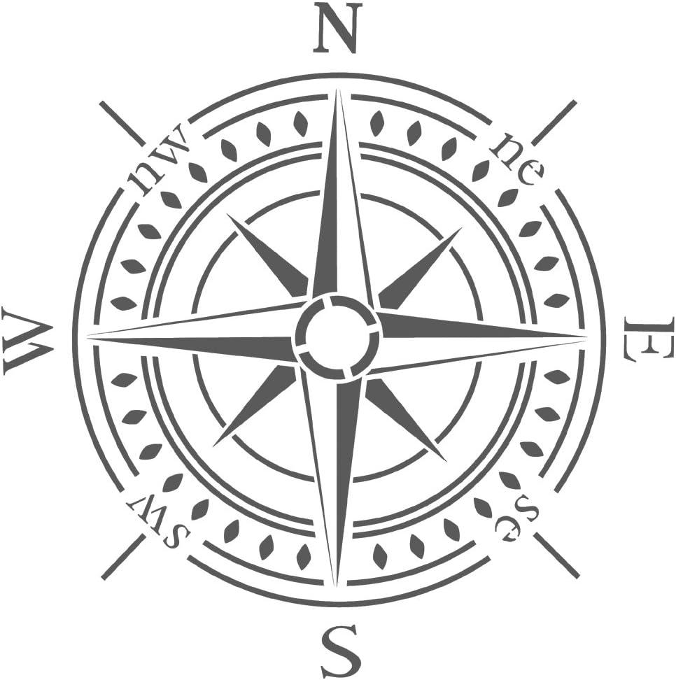 "Large Nautical Compass Stencil Reusable Pattern 10 mil reusable  15/"" x 15/"""