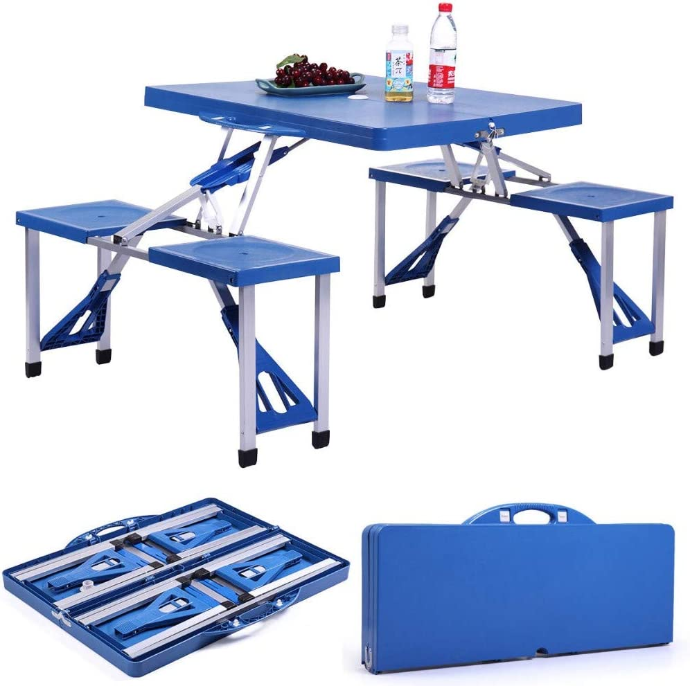 - Blue Kids Outdoor Portable Plastic Folding Picnic Table Camping W