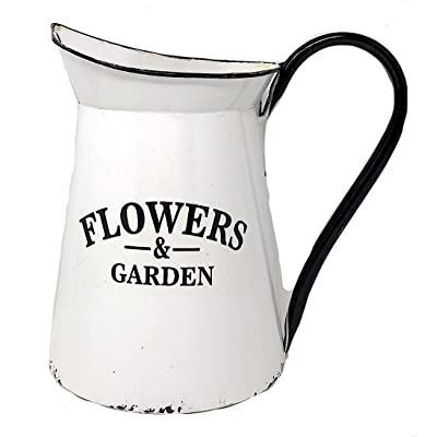 "Metal Wall Planter Pocket Half Pitcher Hanging White Enamel Organizer Indoor Outdoor Flowers & Garden (9"" x 10""): Garden & Outdoor"