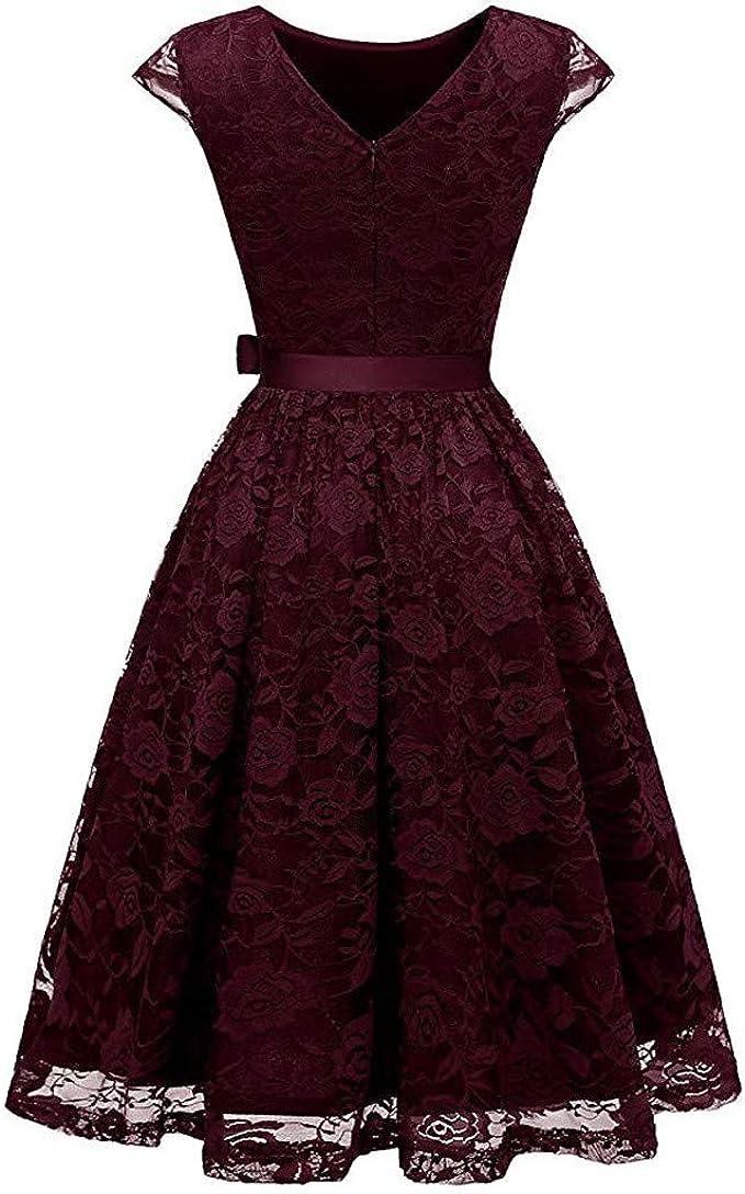 Mikilon Women Elegant Floral Lace Dress V Neck Long Sleeve Casual Swing Lace Semi-Formal Mini Dress for Wedding Guest