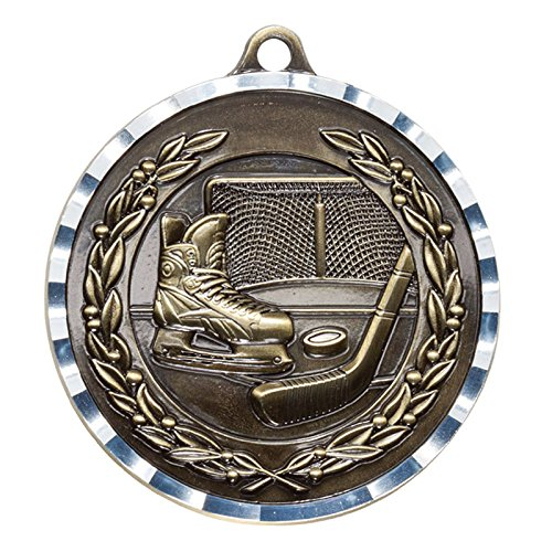 (Customizable 2-3/4 inch Hockey Medal Attached to Ribbon, Includes Personalization - Pack of 10)
