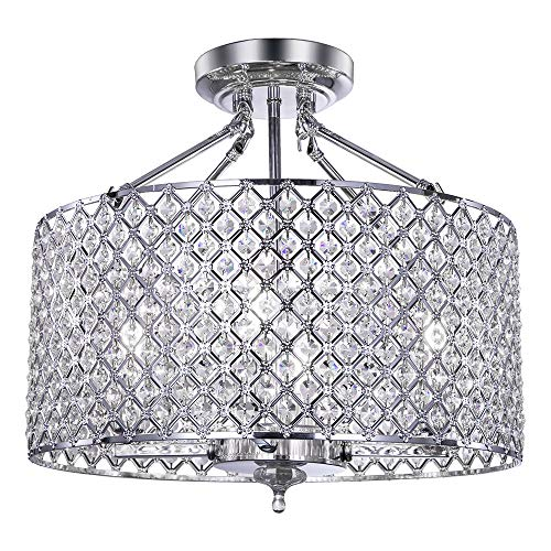 (Wellmet Modern Semi-Flush Mount Crystal Chandeliers with Drum Shade, Crystal Beaded Ceiling Pandant Light Fixture for Bedroom, Living Room, Hallway Closet, Chrome Finish 17.72