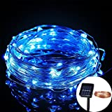 GAXmi Solar Copper Wire Light 30m 98.4ft 300 LEDs Waterproof Fairy String Lights for Christmas Wedding Party Anniversary Birthday (Blue)