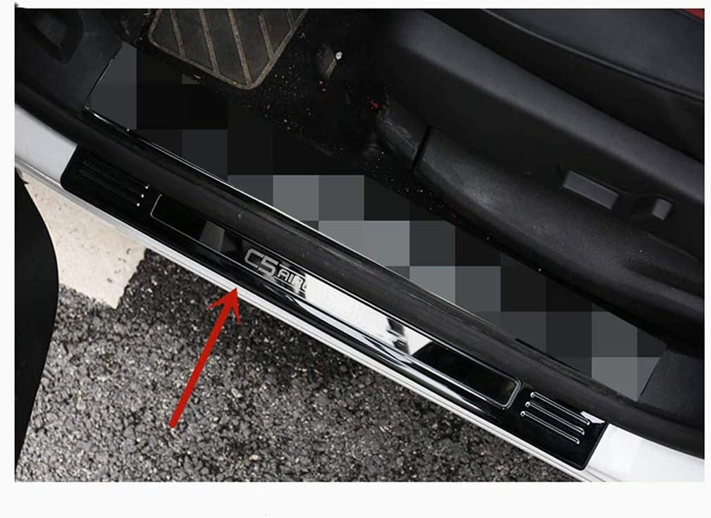 Saxonj 4pcs Stainless Steel Outside Door Sill For Citroen C5 AIRCROSS 2017-2020 Scuff Plate with emblem Kick Plates