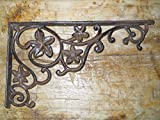New 10 Cast Iron by YourLuckyDecor Antique Style Flower & Vines Brackets, Garden Braces Shelf Bracket