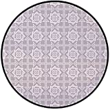 Printing Round Rug,Geometric,Abstract Repeating Pattern with FloralSquares Frames and Dotted Cross Arrows Mat Non-Slip Soft Entrance Mat Door Floor Rug Area Rug For Chair Living Room,Silver White