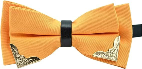 MENDENG Mens Gold Metal Orange Black PU Leather Satin Bow Ties Formal Bowtie