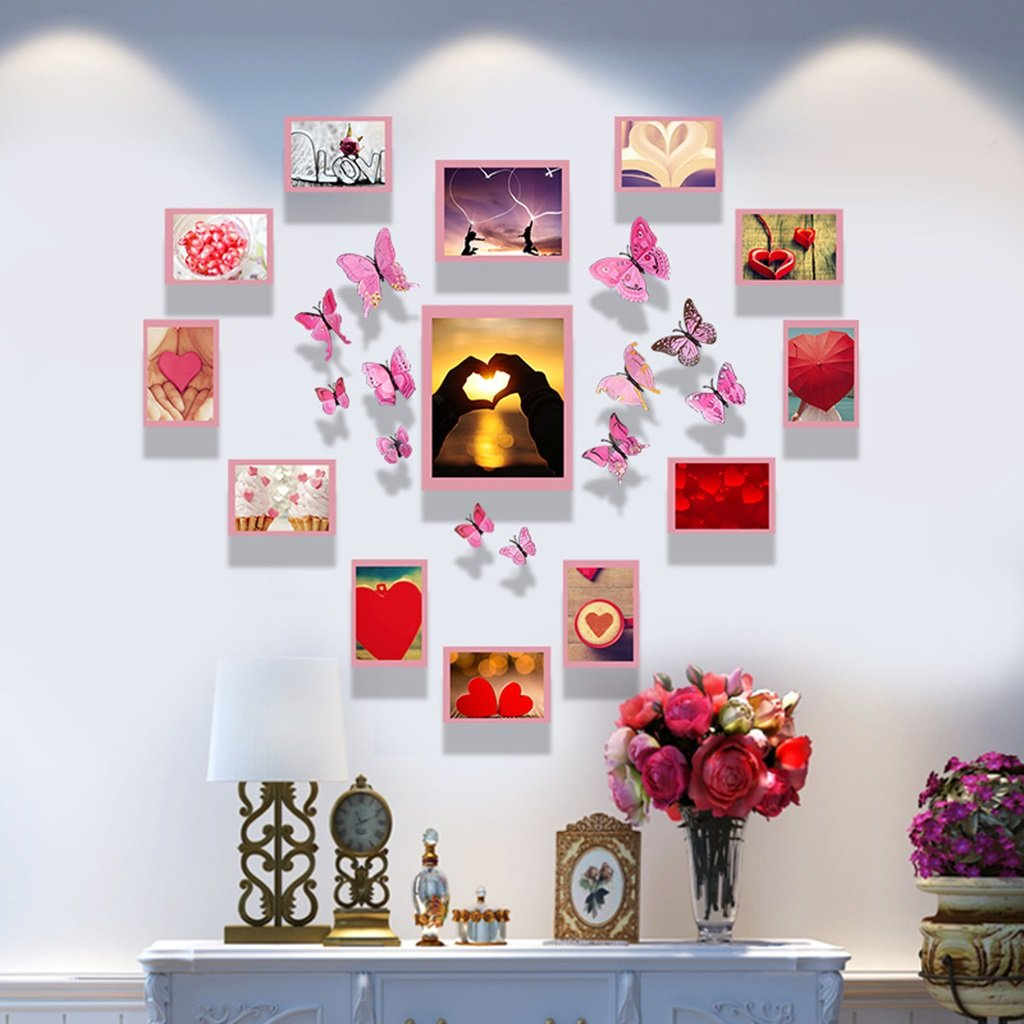 ZGP Home@Wall photo frame Photo Wall Combination Photo Frame Heart Shaped Creative Personality Photo Wall Dormitory Bedroom Living Room Wall (Color : A, Size : 127M100cm)