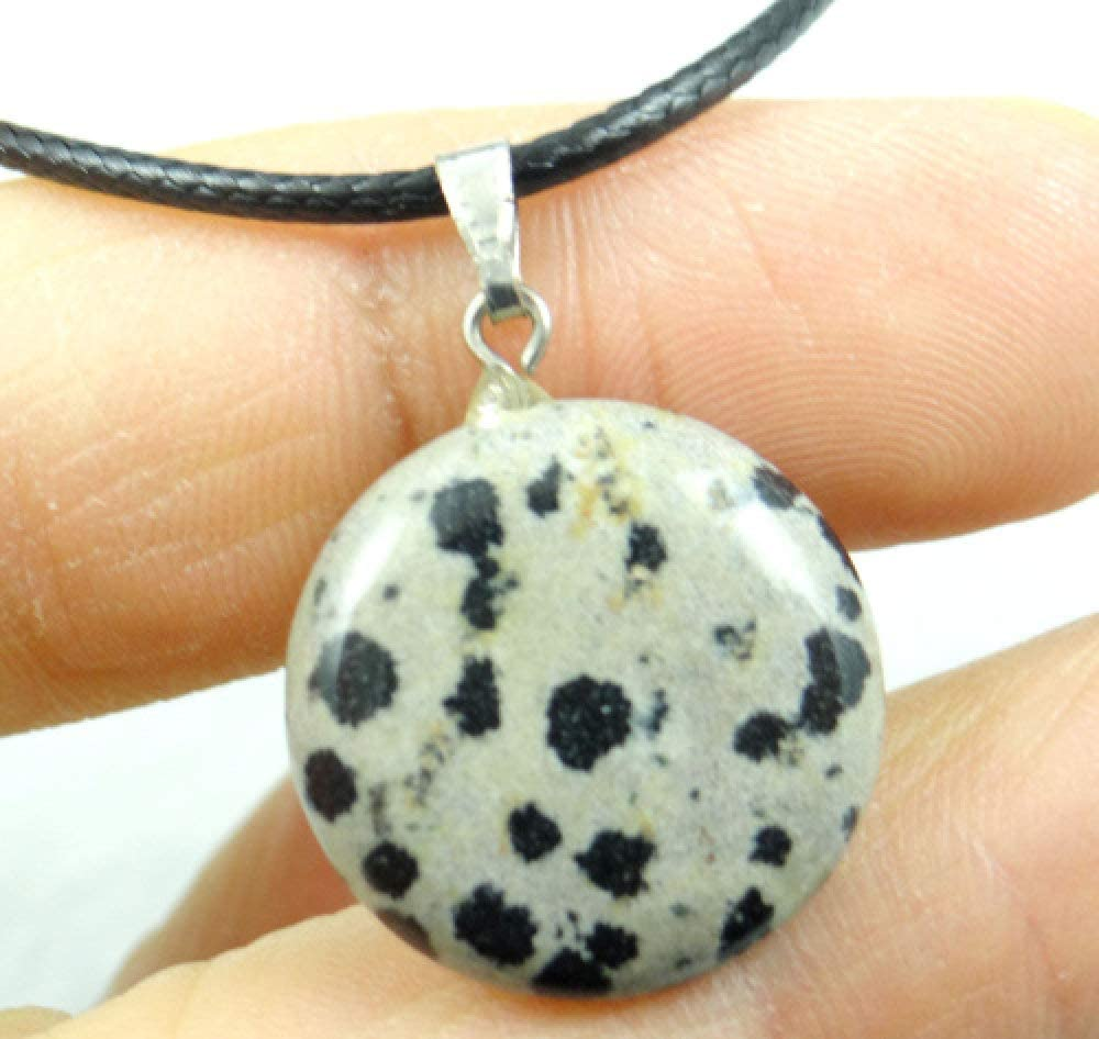TFOOD Collarcolgante Piedra Preciosa,7 Chakra Moda Natural Jaspe Dálmata Simple Colgante De Forma Redonda Collar De Cuerda De Cuero Negro para Regalo De Lady Jewelry