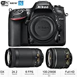 Nikon D7200 24.2 MP DX-format Digital SLR Body with Wi-Fi and NFC (Black)(Certified Refurbished) (Nikon D7200 + 2 Lens 18-55mm & 70-300mm)