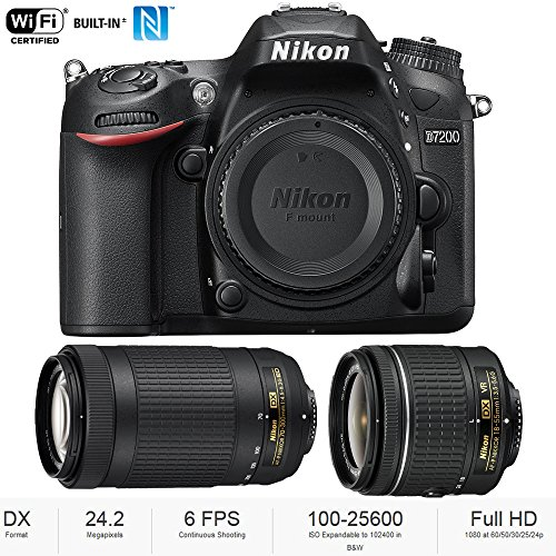 - Nikon D7200 DX 24.2MP Digital SLR Camera Body with WiFi NFC + Dual Lens AF-P (18-55mm + 70-300mm) Bundle - (Renewed)