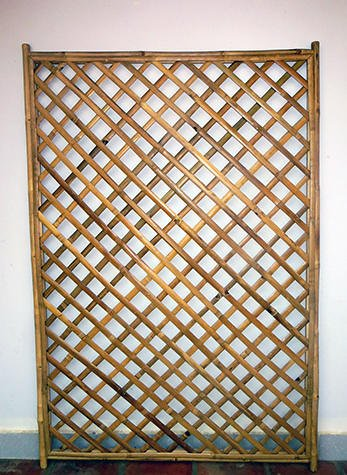 Tall Bamboo Wall - Framed Bamboo Panel with Diamond Lattice Opening  72H x 48