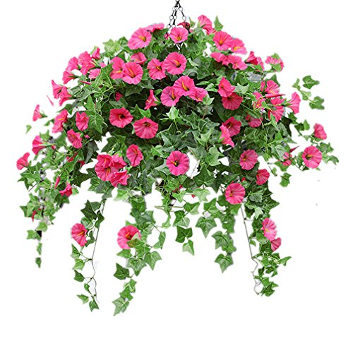 Mynse Silk Flower Rose Red Artificial Morning Glory Hanging Plant Ivy Green Leaves with Hanging Basket Wedding Garden Balcony Decoration (Big Basket)