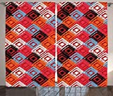 Cheap Ikat Curtains Home Decor Grunge Distressed Native Ikat Patterns Color Effects Connected Eastern Design Living Room Bedroom Decor 2 Panel Set Red Blue Orange