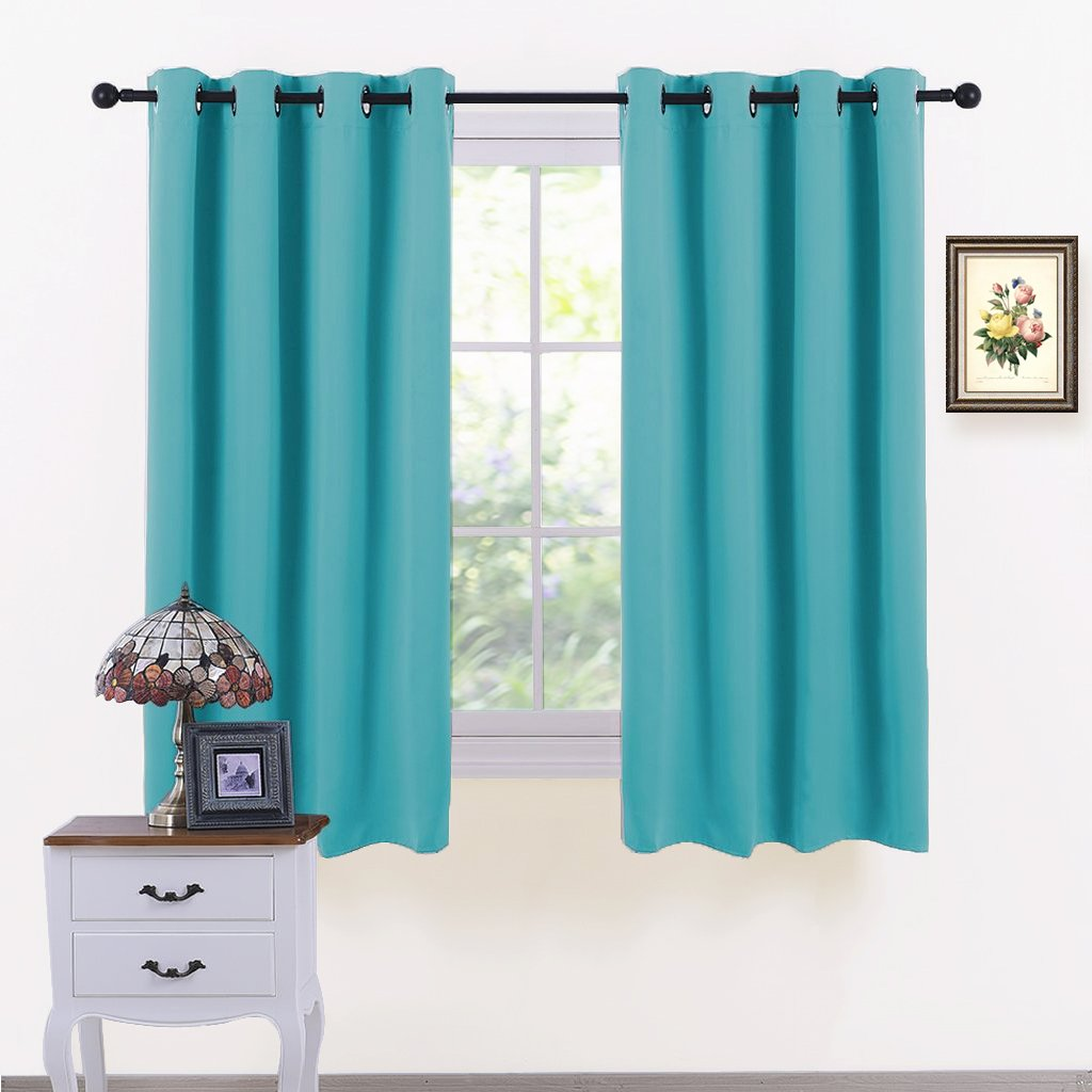 PONY DANCE Bedroom Window Curtains - Home Decoration Solid Window Treatments Thermal Insulated Drapes Blackout Draperies Panels for Living Room, 52 by 63 inches, Turquoise, 1 Pair