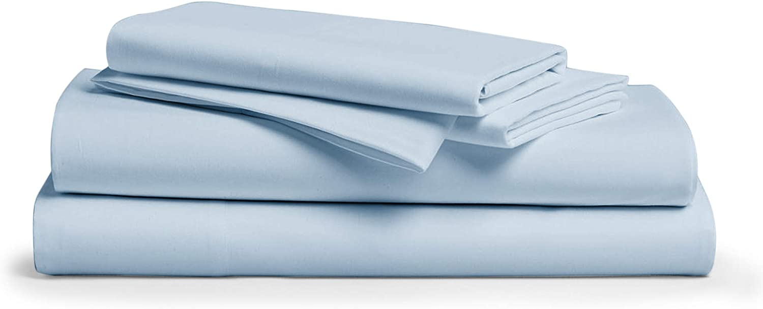 Comfy Sheets 100% Egyptian Cotton Sheets- 1000 Thread Count 4 Pc Queen Sheets Cotton Light Blue Bed Sheet with Pillowcases, Hotel Quality Fits Mattress Up to 18'' Deep Pocket.