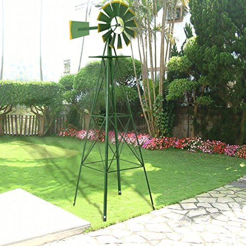 (Best Choice Products SKY1889-1 8ft Steel Windmill Decoration, Green)