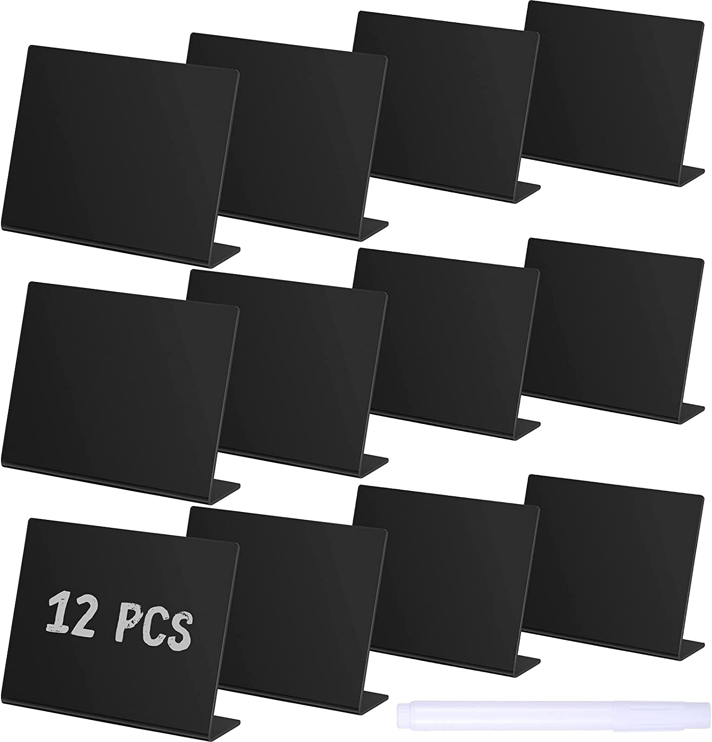 12 Pieces Mini Chalkboard Table Tent Sign Chalkboard Buffet Tags Chalkboard Food Label Sign with 2 Pieces Erasable Chalk Marker for Weddings Birthday Parties Food Table Tents
