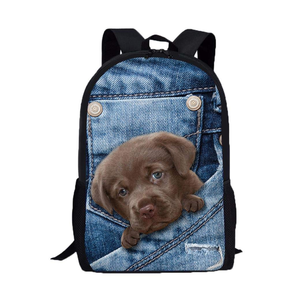 Cute Denim Cat Polyester Fabric Kids School Backpacks with Side Pockets, 3D Animal Print Shoulder Bags (Blue A)