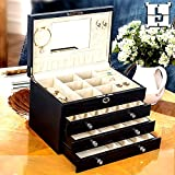 The Muse's Magic box Jewelry Box Watch Storage Organizer w/ Lock Mirror and Mini Travel Case , White