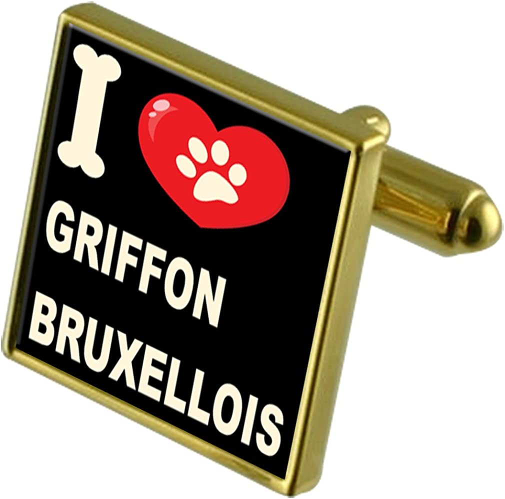 Griffon Bruxellois Select Gifts I Love My Dog Gold-Tone Cufflinks /& Money Clip